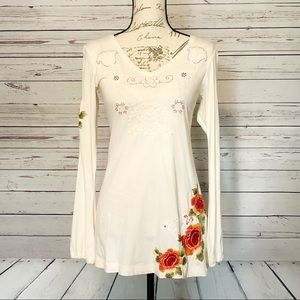 Johnny Was Long Sleeve Embroidered Top